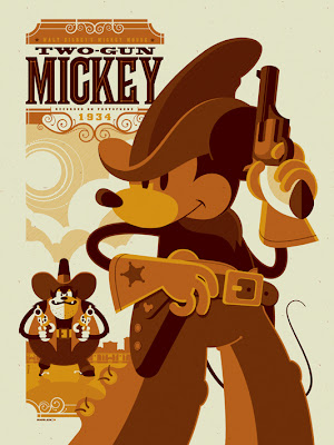 """Two-Gun Mickey"" Disney Screen Print by Tom Whalen"