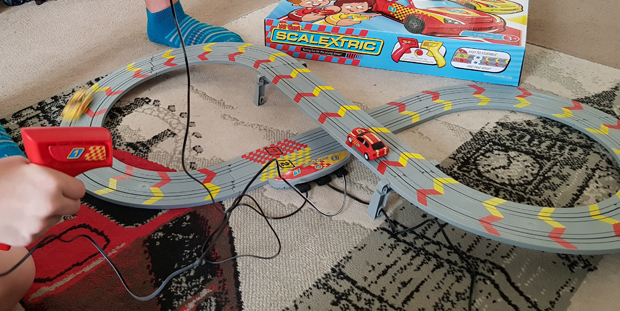 My First Scalextric is a great size for keeping the track out