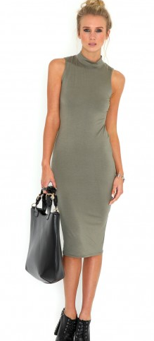 Bodycon, Dress, Dropped Arm, Green, High Neck, Khaki, Made In Chelsea, MIC, Midi Dress, Missguided, Rosie Fortescue, Sleeveless