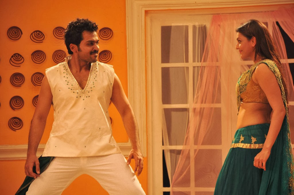 Kajal Agarwal Latest Hot Navel Show Photos With Karthi From All in All Azhagu Raja Movie