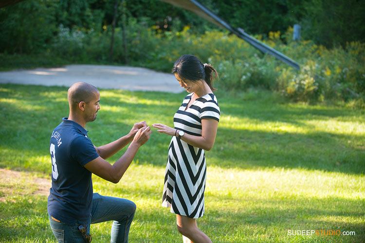 Surprise Engagement Proposal Photography Ann Arbor Arboretum SudeepStudio.com Ann Arbor Wedding Photographer