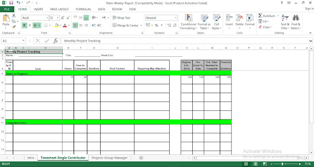 Weekly Project Tracking ُExcel Template