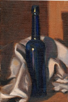 Oil painting of an antique blue castor oil bottle nestled in amongst the folds of a tea towel.