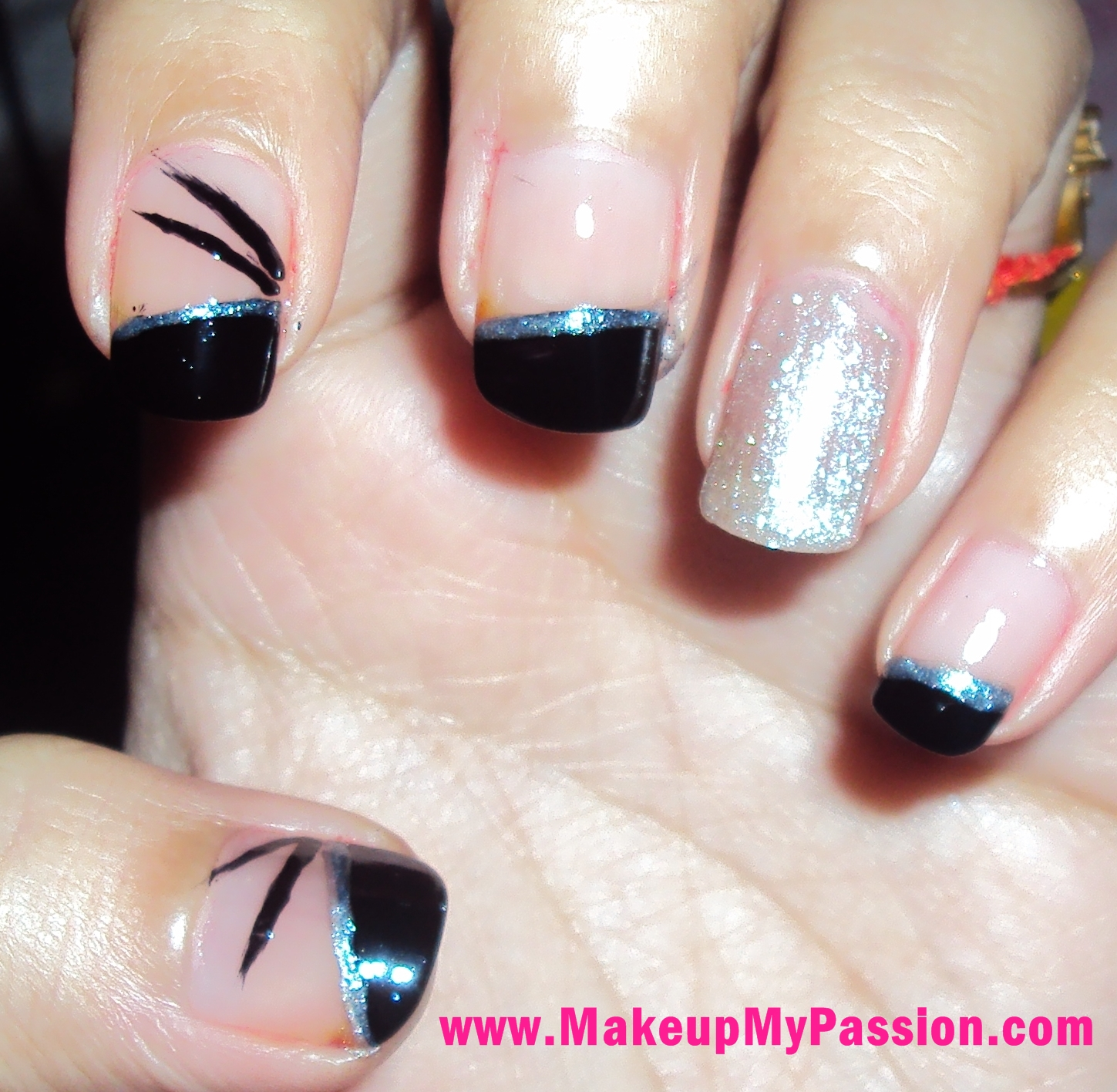 Makeup My Passion ...: NOTD : Black And Silver Nail Art