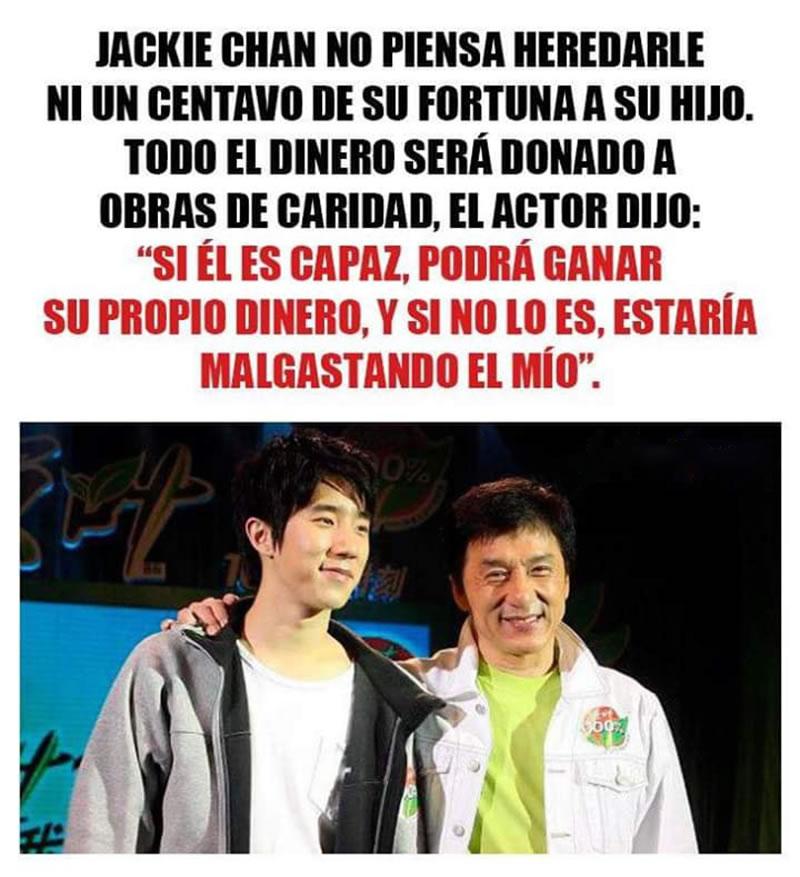 Jackie Chan no piensa heredarle ni un centavo 2019