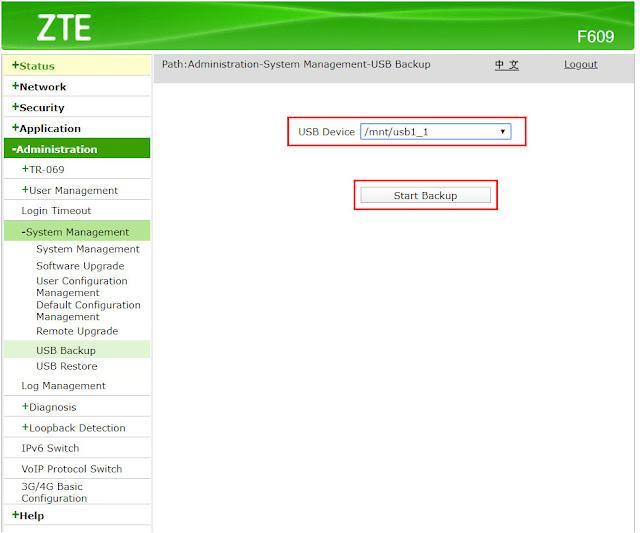 Start backup configuration ZTE F609