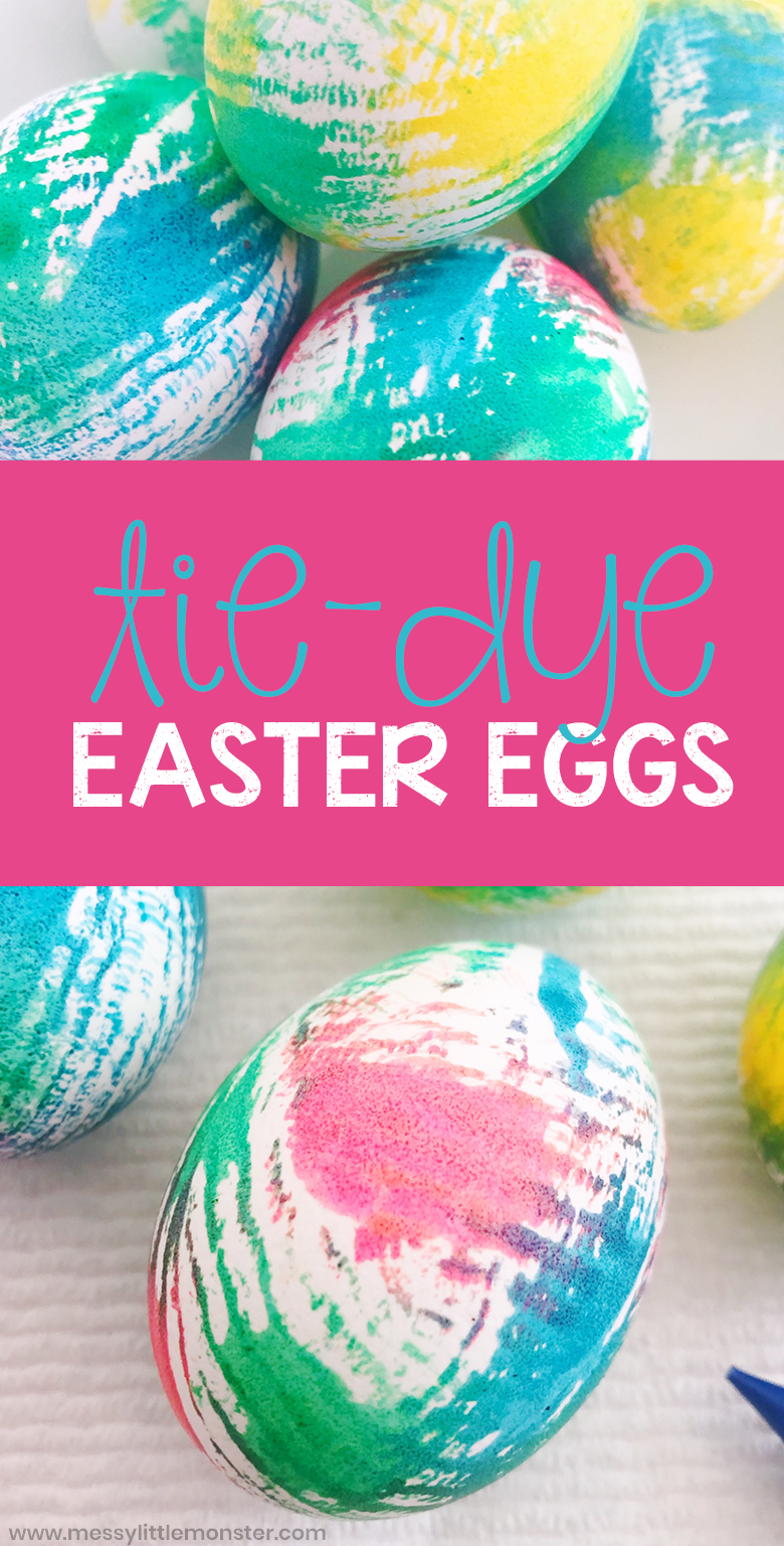 How to make tie dye Easter eggs. A fun Easter craft for kids.