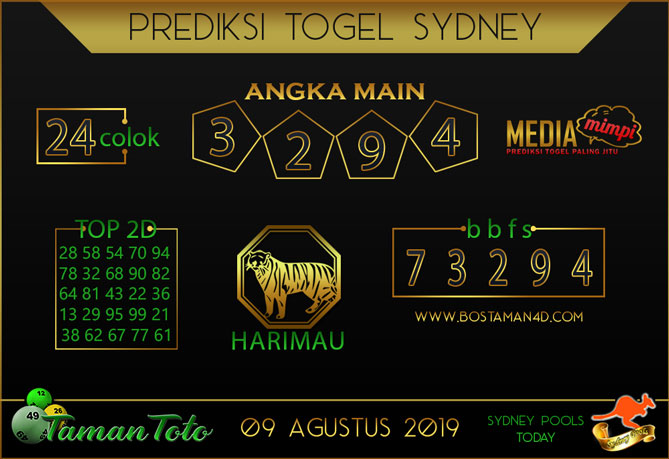Prediksi Togel SYDNEY TAMAN TOTO 09 AGUSTUS 2019