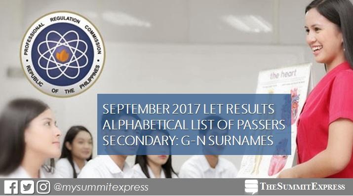 G-N Passers Secondary LET Result September 2017