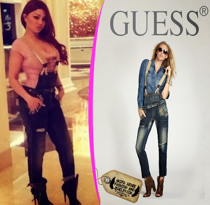 Haifa Wehbe wearing a vero studded overall by Guess 8b347e07dda3f