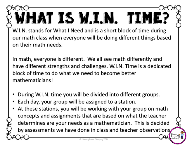 W.I.N. in the elementary classroom with differentiated stations.  Intervention and enrichment take on a new look with the W.I.N. block.
