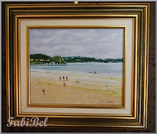 huile sur toile la plage oil on canvas beach