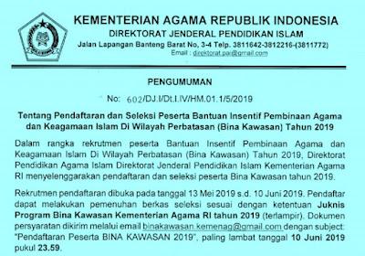 Informasi Penerimaan Program Guru Bina Kawasan Tahun 2019/2020