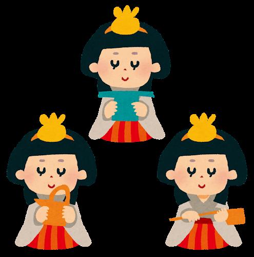ひな祭りのイラスト「三人官女」