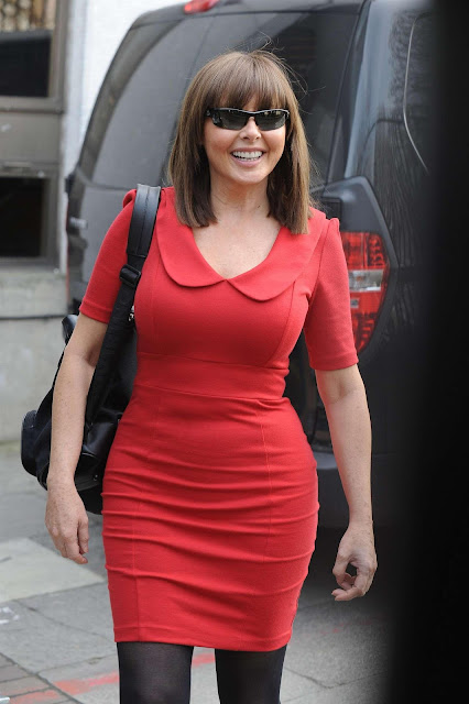 Carol Vorderman Hot Photo In Red Dress Fashion 2013