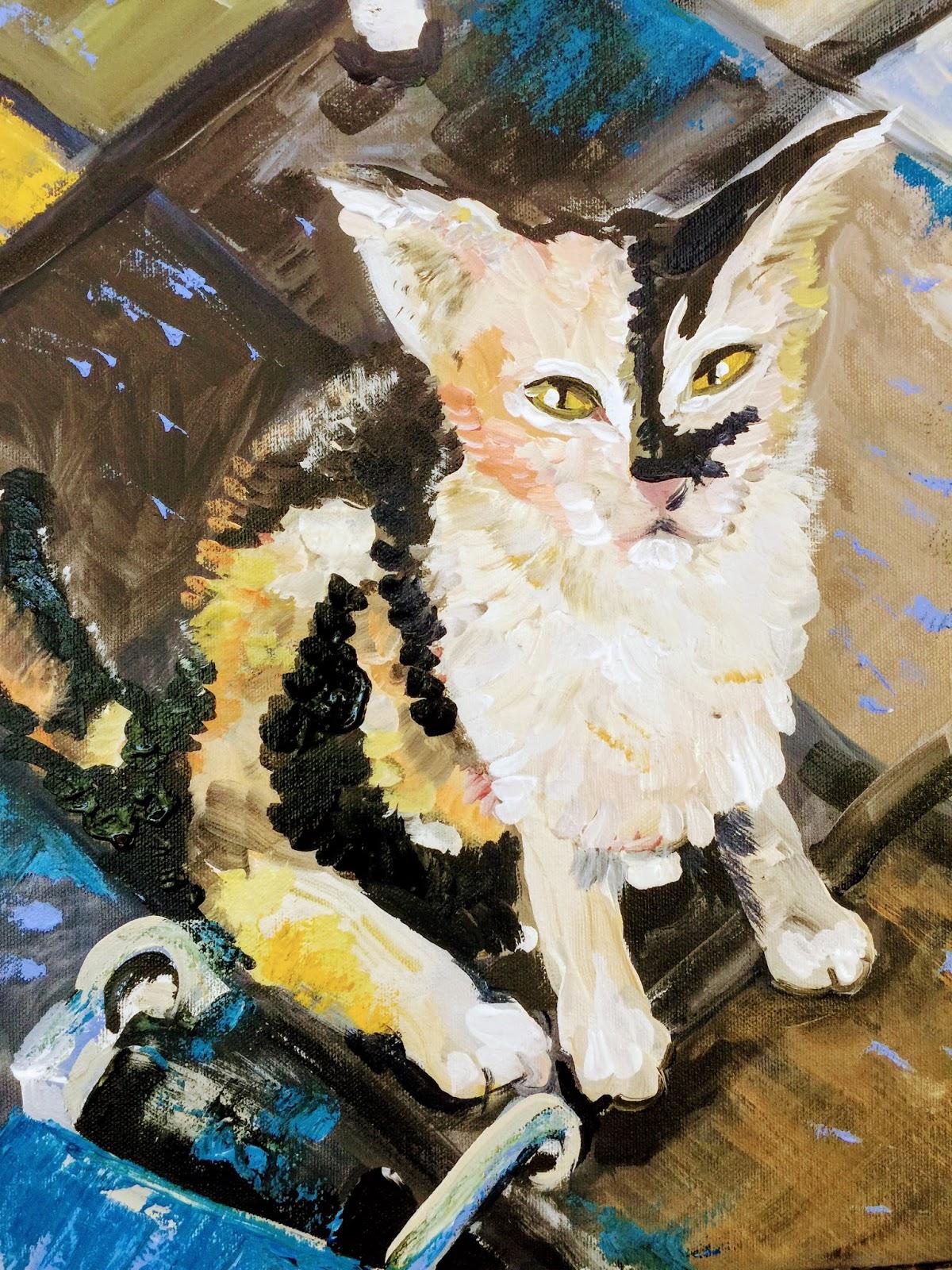 """Kitten in acrylic, 20"""" x 16"""""""