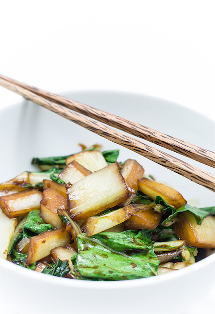 Stir fry Bok choy - Pak choi in bowl close up