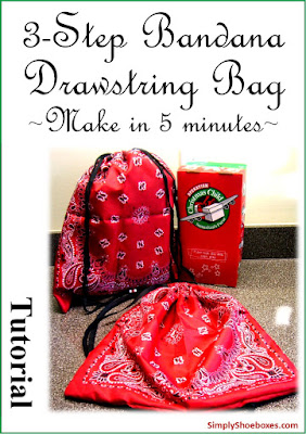 3 step bandana drawstring bag tutorial for Operation Christmas Child shoeboxes.