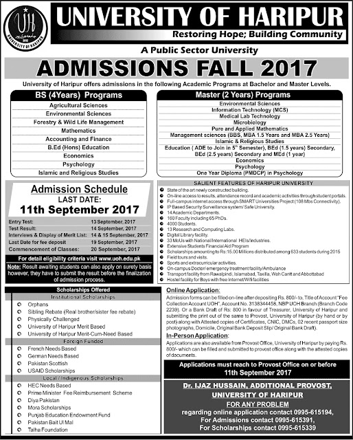 Bachelor, Master Programs Admissions Open in University of Haripur