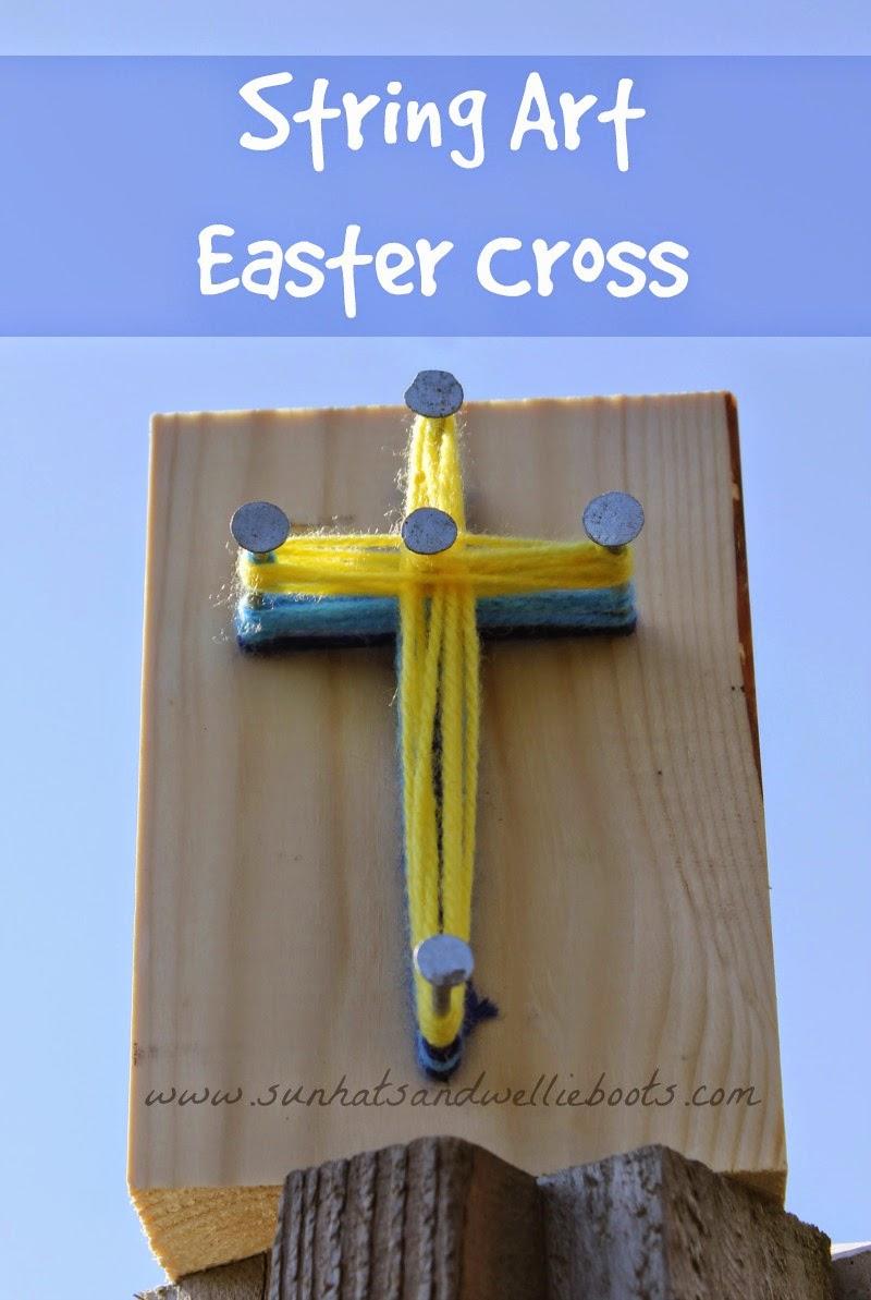 Sun Hats Amp Wellie Boots Simple String Art Weaving An Easter Cross
