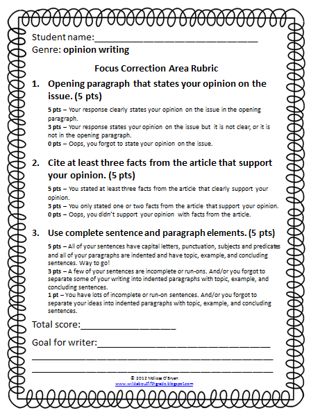 Write an opinion piece 4th grade