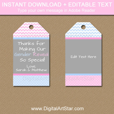 gender reveal printable thank you tags