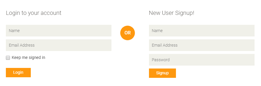 horizontal login and signup form layout fully responsive