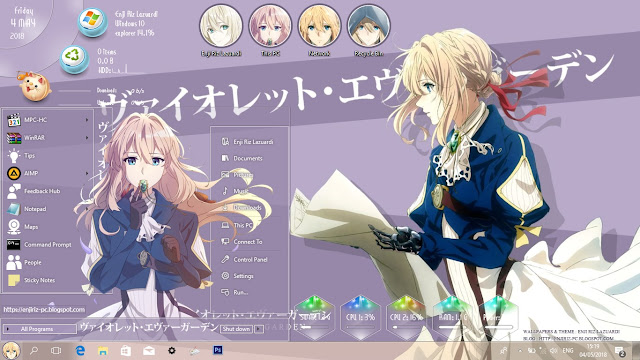 Windows 10 Ver. 1703 Theme Violet Evergarden by Enji Riz