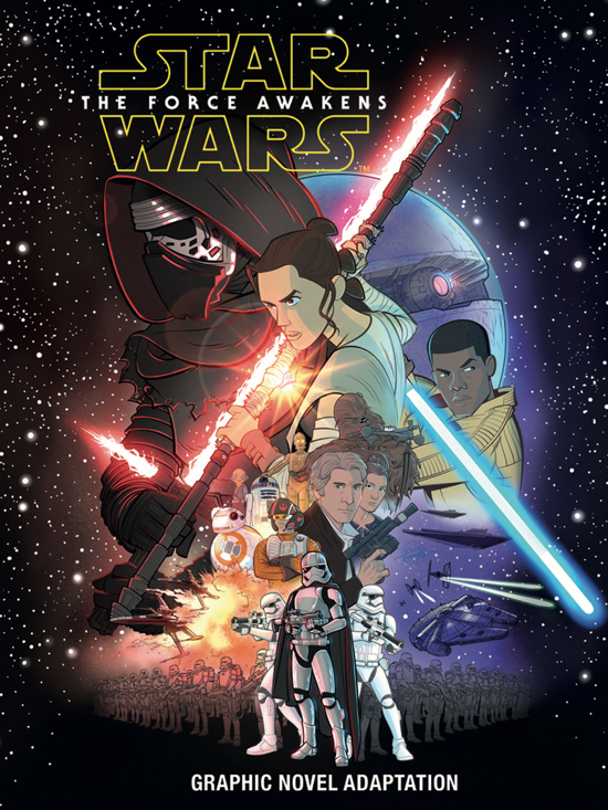 Star Wars: The Force Awakens Graphic Novel Adaptation Story Adaptation: Alessandro Ferrari Layout: Simone Buofontino Inks/Clean Up: Igor Chimisso Character Studies: Igor Chimisso Background/Settings: Massimo Rocca, Davide Turotti  Characters: Kawaii Creative Studio Cover: Eric Jones  Star Wars created by George Lucas.