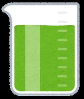 ビーカーに入った液体のイラスト(緑)