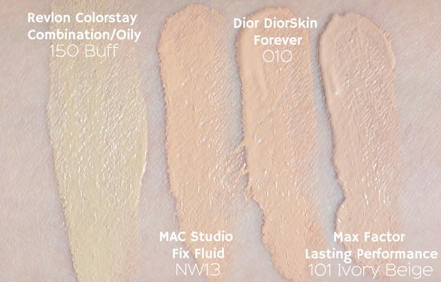 Revlon Colorstay, Mac studio fix fluid, diorskin forever, maxfactor lasting performance