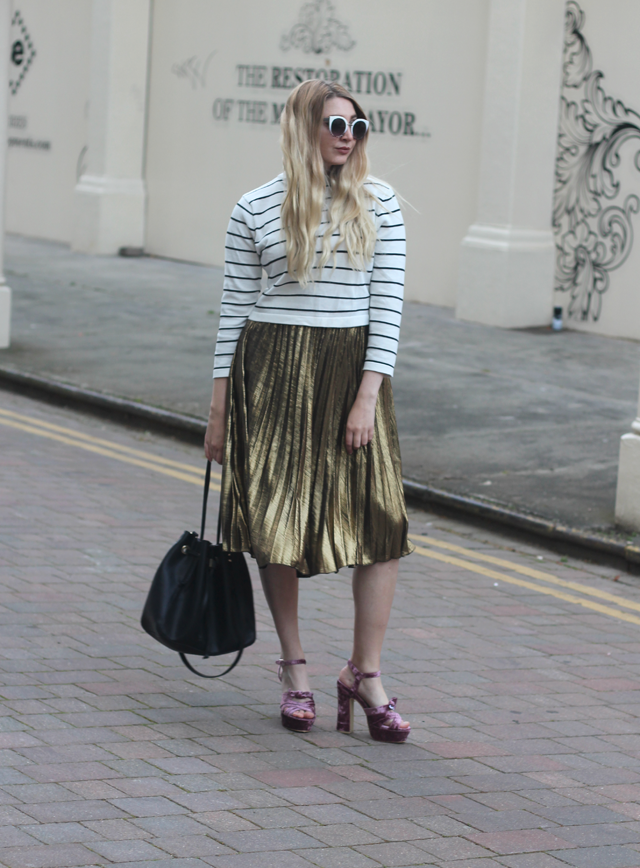 gold midi skirt uk high street blog
