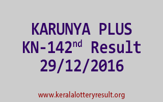 KARUNYA PLUS KN 142 Lottery Results 29-12-2016