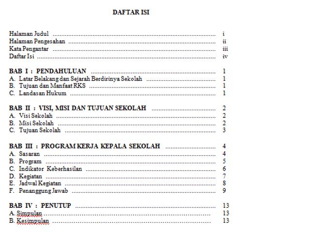 Contoh Format Program Rencana Kerja Kepala Sekolah Rkks Unduh File Guru