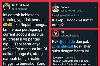 Kena Kepret Rizal Ramli, Buzzer Petahana Ditertawakan Warganet: KLAKEP.. Kodok Kesumbat Orong-Orong