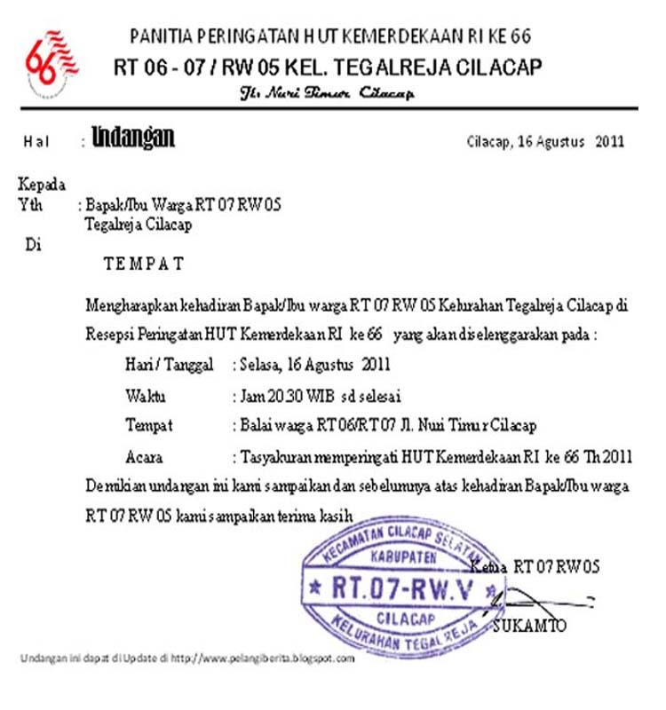 Contoh Surat Undangan Rapat Rt Agustus Contoh Surat Materi