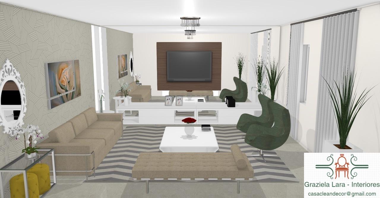 Construindo Minha Casa Clean Sala De Estar Com Tv Modernas  -> Vasos Na Sala De Tv