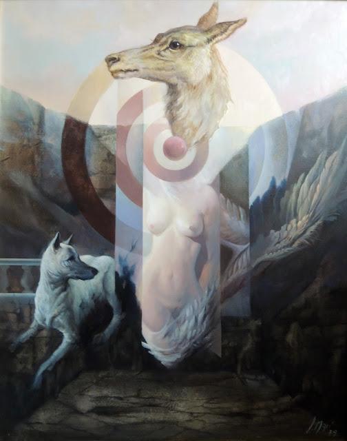 José Marí pintura surrealista arte desnudo perro