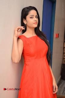Telugu Actress Divya Nandini Stills in Orange Sleeveless Gown at Chennai Chaitrama Movie le Launch Event  0040.JPG