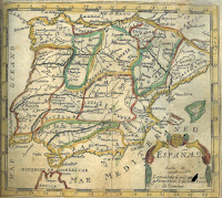 An engraving of the Iberian peninsula with hand-colored borders to mark the separate regions.