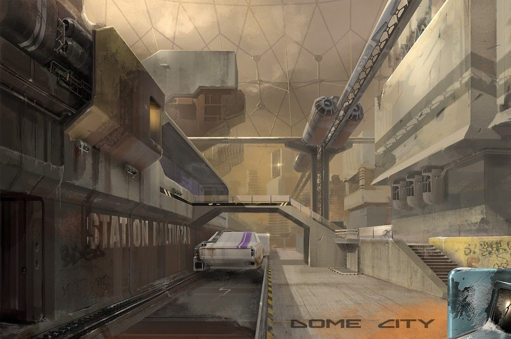 Concept art for Dome City game on Mars - tram station