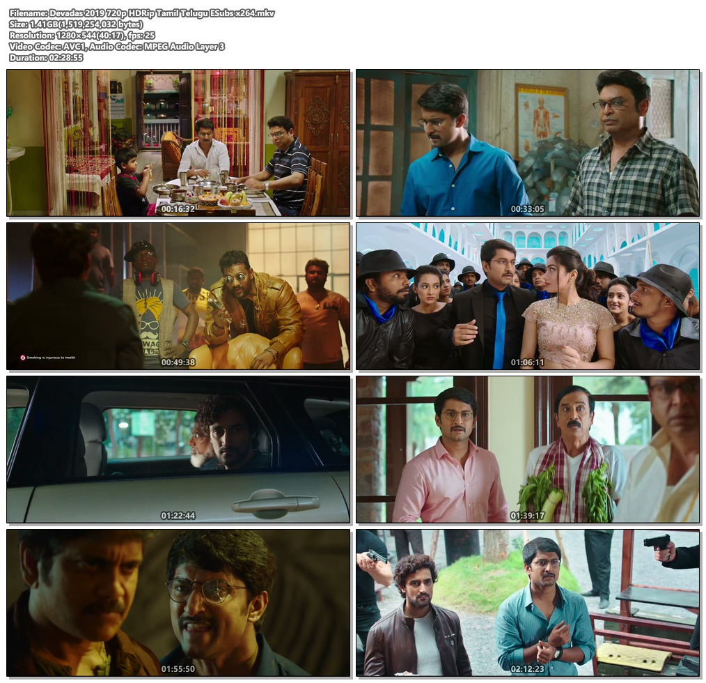 Devadas 2019 720p HDRip Tamil Telugu ESubs x264   480p 300MB   100MB HEVC Screenshot