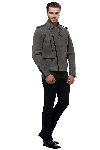BARESKIN CHARCOAL GREY CLASSIC BIKER LEATHER JACKET FOR MEN