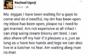 Nigerian Facebook lady badly needs a husband