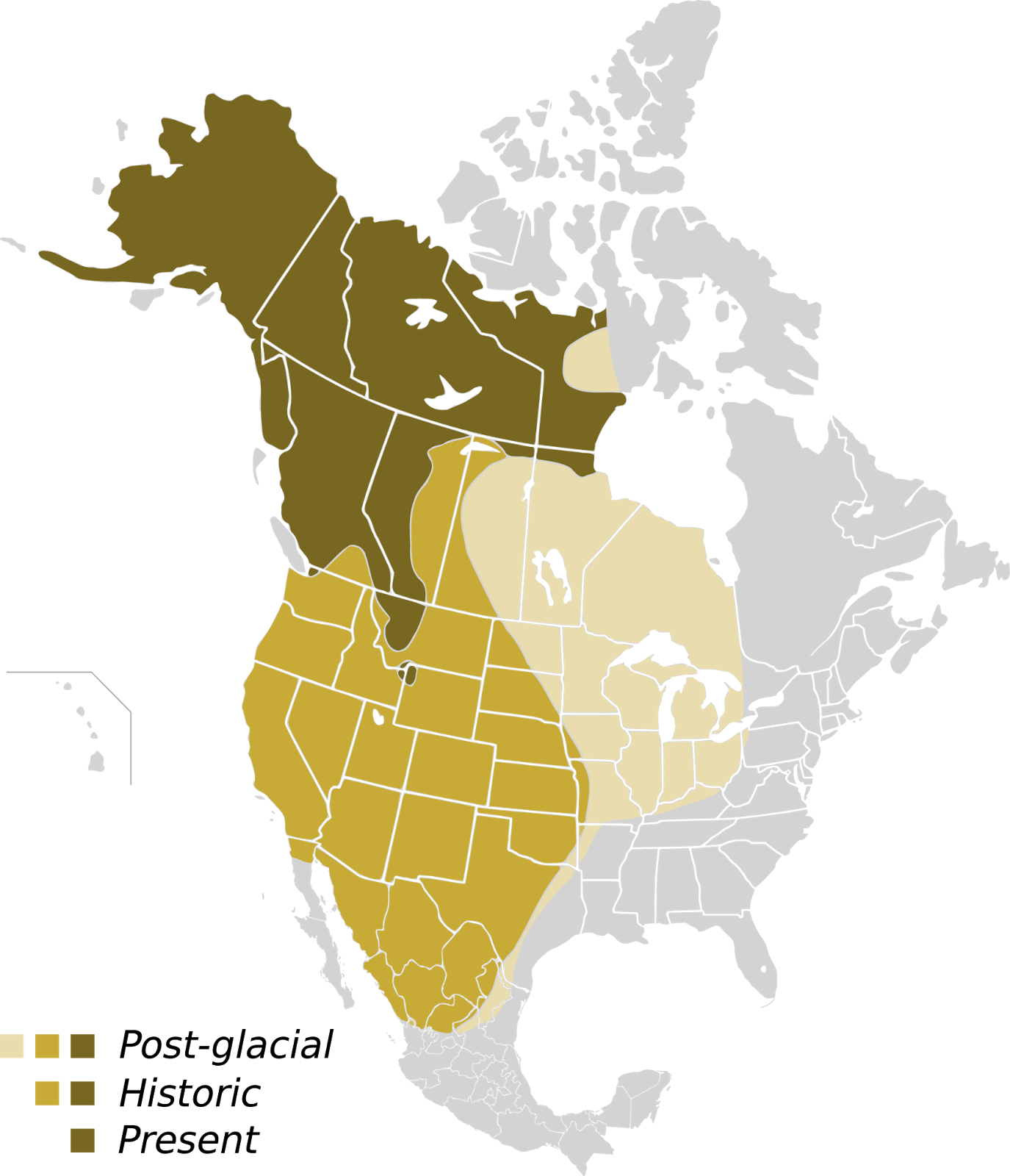 Historic and Present range of the Grizzly Bear