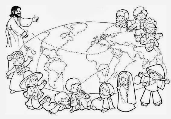Maestra de Primaria: Cadena de niños del mundo para colorear. Día de ...