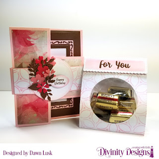 Divinity Designs Stamp Set: Festive Favors Tag Sentiments, Custom Dies: Belly Band, Festive Favors, Half Shutter Card with Layers, Lavish Layers, Pierced Rectangles, Paper Collection: Beautiful Blooms, Mixed Media Stencil: Petals