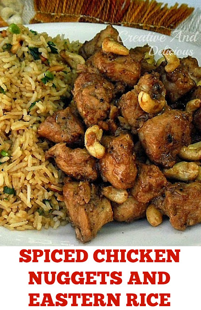 Very tasty Spiced Chicken Nuggets served with Eastern Rice is the ideal meal to serve for dinner (recipes for both !)
