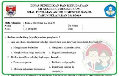 Soal UAS / PAS Kelas 4 Tema 2 Kurikulum 2013 Revisi 2018