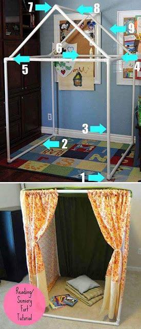 casita de juegos para niños construida con tubos pvc